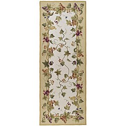 Safavieh Hand-hooked Flora Ivory Wool Rug (3' x 8')