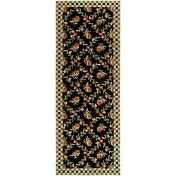 Safavieh Hand-hooked Pineapple Trellis Black/ Ivory Wool Rug (3' x 6')