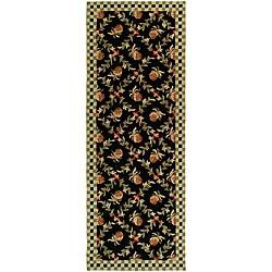 Safavieh Hand-hooked Pineapple Trellis Black/ Ivory Wool Rug (3' x 8')