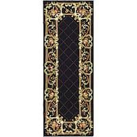 Safavieh Hand-hooked Trellis Black Wool Rug - 3' x 12'