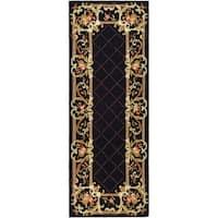 Safavieh Hand-hooked Trellis Black Wool Rug - 3' x 6'
