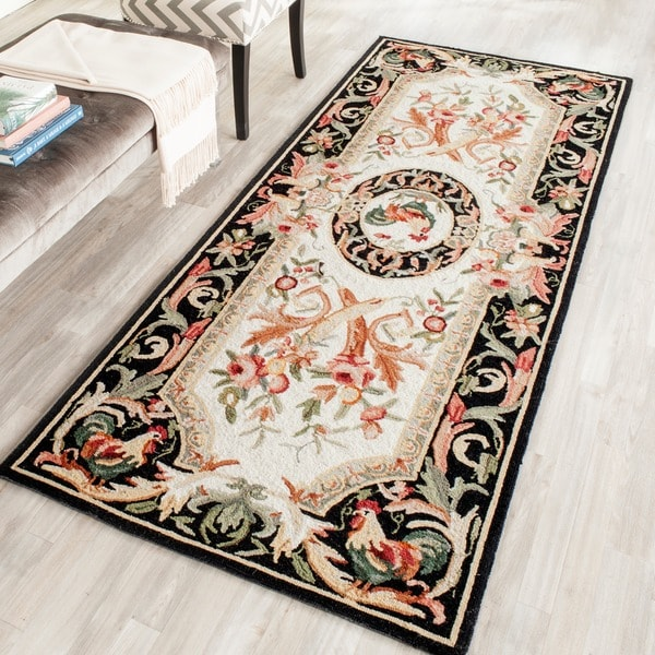 Safavieh Hand-hooked Rooster Ivory/ Black Wool Runner - 3' x 12'