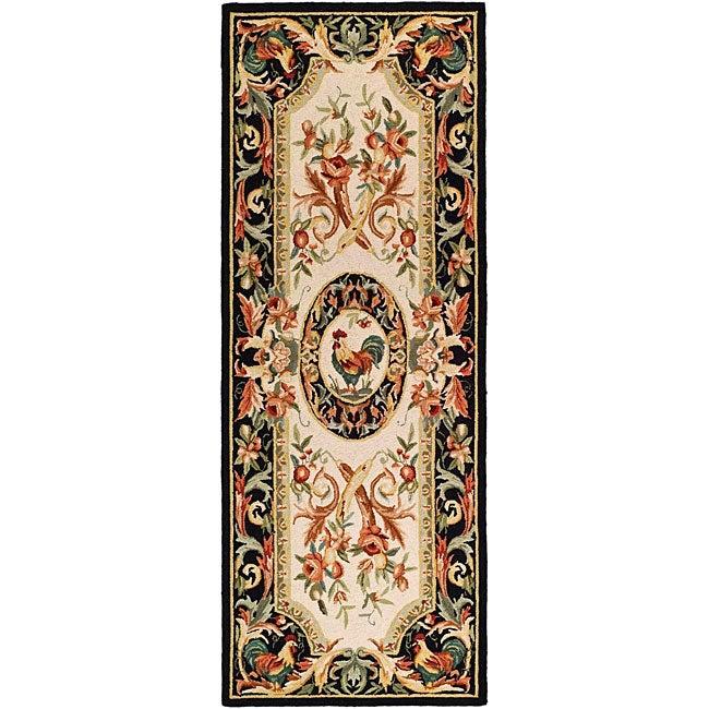 Safavieh Hand-hooked Rooster Ivory/ Black Wool Runner (3'...