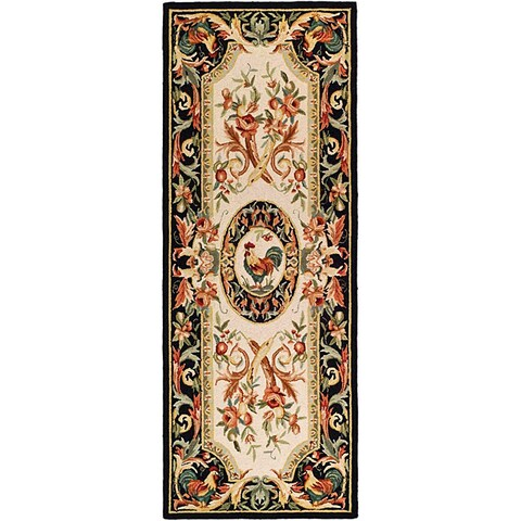 Safavieh Hand-hooked Rooster Ivory/ Black Wool Runner (3' x 8') - 3' x 8'
