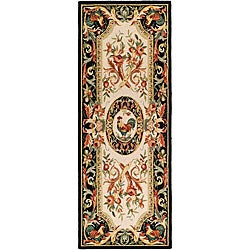Safavieh Hand-hooked Rooster Ivory/ Black Wool Runner (3' x 8')