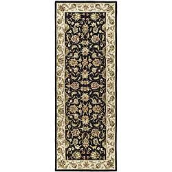 Safavieh Hand-hooked Chelsea Tabriz Black/ Ivory Wool Runner (3' x 12')