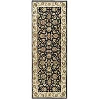 Safavieh Hand-hooked Chelsea Tabriz Black/ Ivory Wool Runner Rug - 3' x 12'
