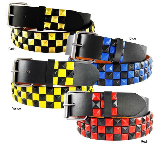Checkered Stud Men's Belt