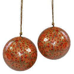 Set of Two Orange Flower Ornaments (India) - Thumbnail 1