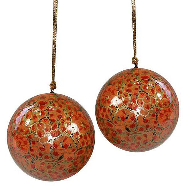 Set of Two Orange Flower Ornaments (India)