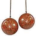 Set of Two Orange Flower Ornaments (India)