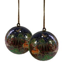 Set of Two Reindeer Ornaments (India) - Thumbnail 1