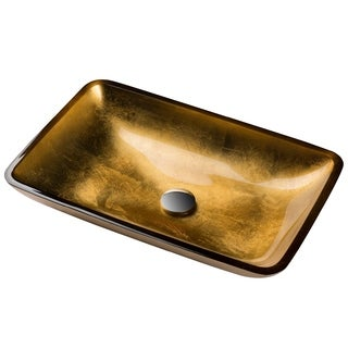 KRAUS Golden Pearl Rectangular Glass Vessel Sink in Gold with Pop-Up Drain in Satin Nickel