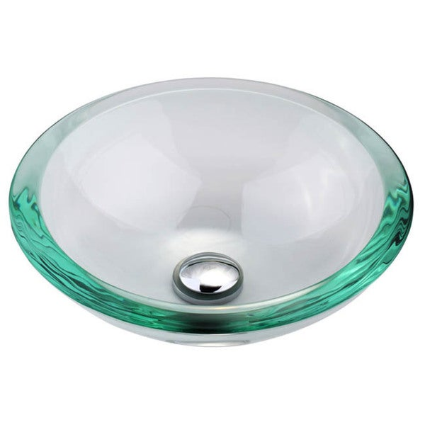 KRAUS GV-150-19mm Clear 17 Inch Round Glass Vessel Bathroom Sink with Pop Up Drain, Mounting Ring option