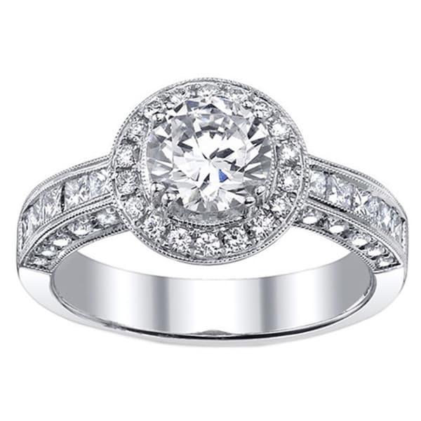 18k Gold 1 9/10ct TDW EGL-certified Diamond Engagement Halo Ring (I, SI3)