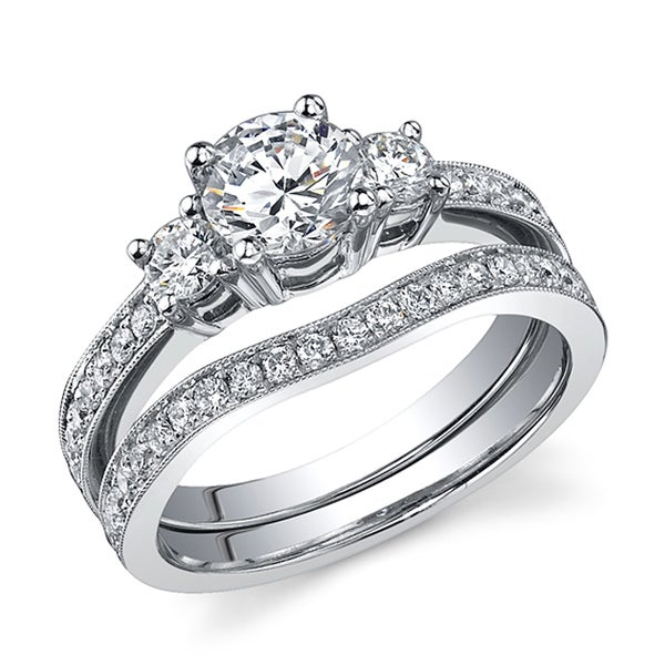 18k Gold 1 2/5ct TDW EGL-certified Diamond Bridal Set (H-I, SI1-SI3) (Size 6.5)
