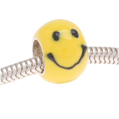 Beadaholique Silverplated and Yellow Enamel Happy Face Beads (Pack of 2)