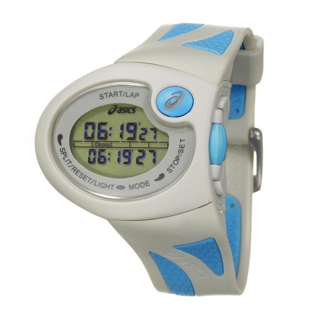 Asics Men's 'Active Running' Grey and Blue Rubber Strap Digital Watch