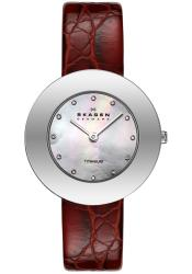 Skagen Women's Red Leather Strap Crystal Watch - Thumbnail 1