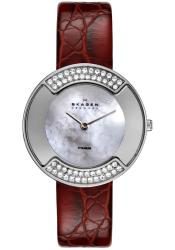 Skagen Women's Crystal Titanium Case Red Leather Strap Watch - Thumbnail 1