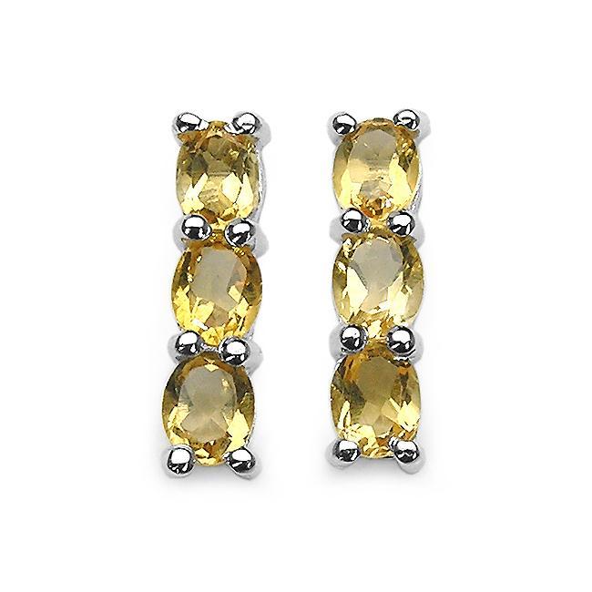 Malaika Sterling Silver Oval-cut Citrine Column Earrings