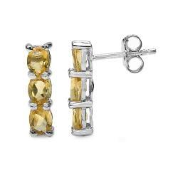 Malaika Sterling Silver Oval-cut Citrine Column Earrings - Thumbnail 1