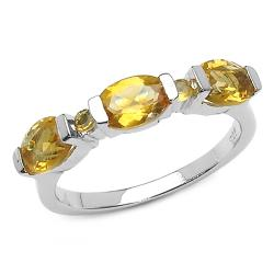 Thumbnail 1, Malaika Sterling Silver Oval and Round Citrine Ring.