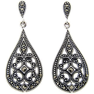Dolce Giavonna Sterling Silver Marcasite Filigree Design Art Deco Teardrop Earrings