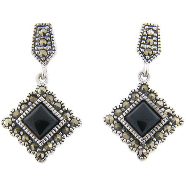 Dolce Giavonna Sterling Silver Marcasite/ Black Onyx Scallop-edge Earrings