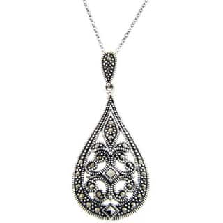 Dolce Giavonna Sterling Silver Marcasite Filigree Art DecoTeardrop Necklace|https://ak1.ostkcdn.com/images/products/4300321/P12278651.jpg?impolicy=medium