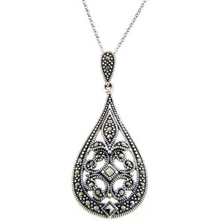 Dolce Giavonna Sterling Silver Marcasite Filigree Art DecoTeardrop Necklace