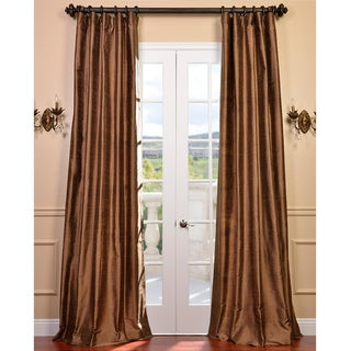 Exclusive Fabrics Signature Mocha Textured Silk 84-inch Curtain Panel