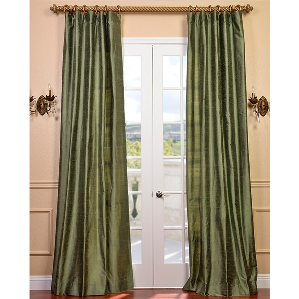 Exclusive Fabrics Signature Green Textured Silk 84-inch Curtain Panel