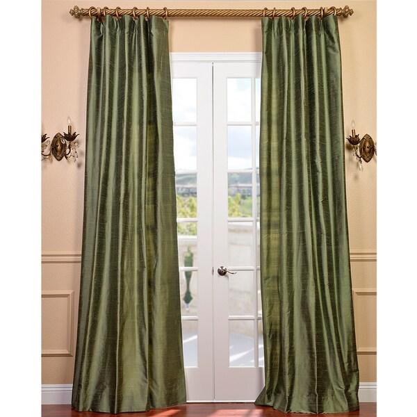 Exclusive Fabrics Signature Green Textured Silk Curtain Panel