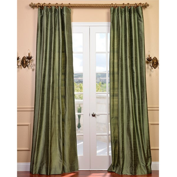 Exclusive Fabrics Signature Green Textured Silk 108-inch Curtain Panel