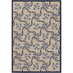 Artist's Loom Indoor/Outdoor Transitional Floral Rug (5'2 x 7'5) - Thumbnail 0