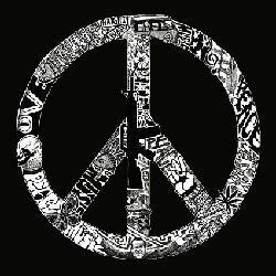 Los Angeles Pop Art Women's Peace, Love and Music T-shirt - Thumbnail 1