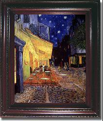 Vincent Van Gogh 'Cafe Terrace at Night' Classic Framed Canvas Art