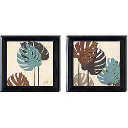Patricia Pinto 'My Fashion Leaves III and IV' 2-piece Canvas Art