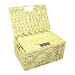 Woven Grass Rectangular Lidded Storage Baskets (Set of 2) - Thumbnail 1
