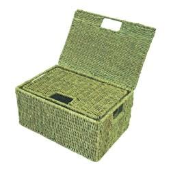 Woven Grass Rectangular Lidded Storage Baskets (Set of 2) - Thumbnail 2