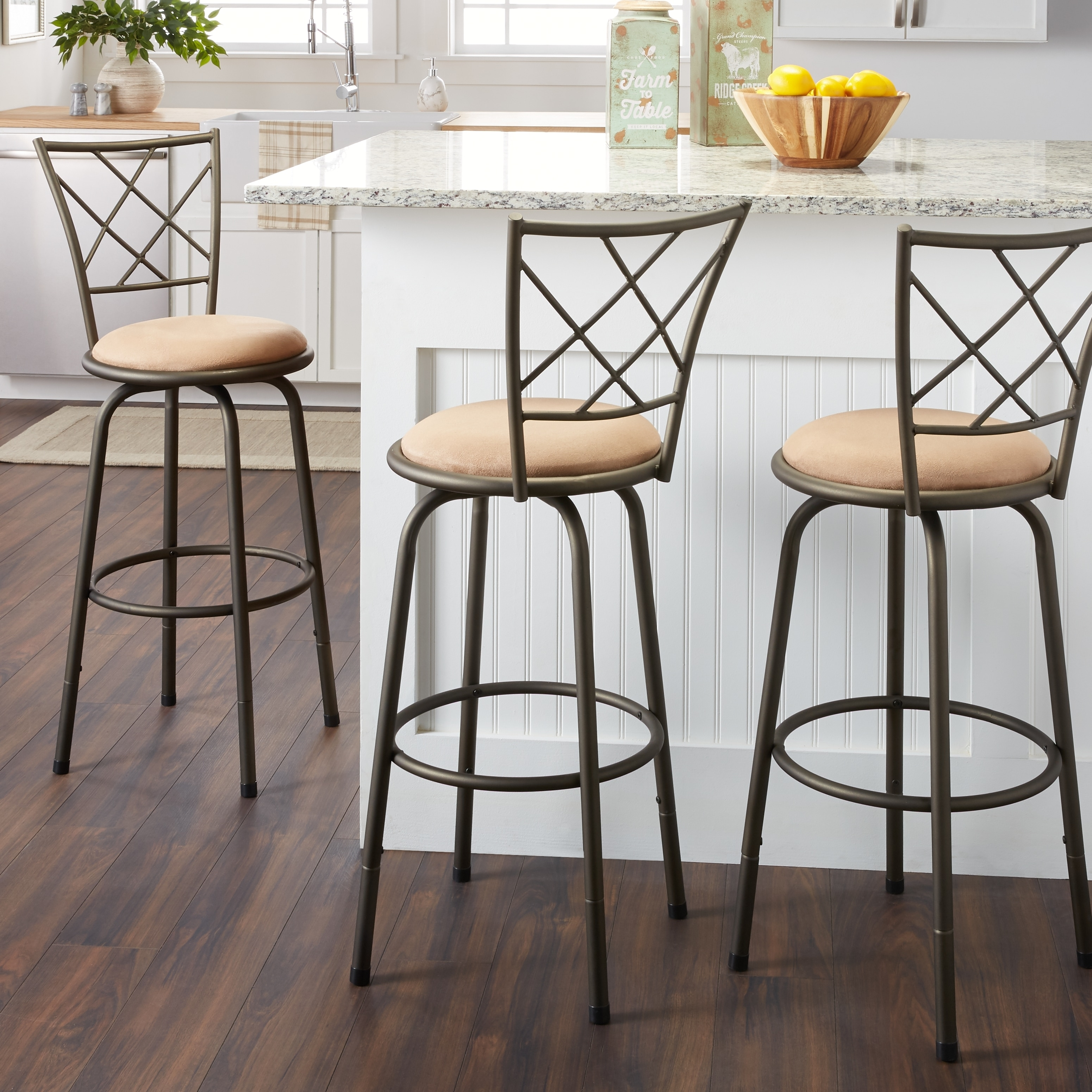 Avalon Quarter Cross Adjustable Swivel High Back Kitchen Stools (Set of 3)  by iNSPIRE Q Classic