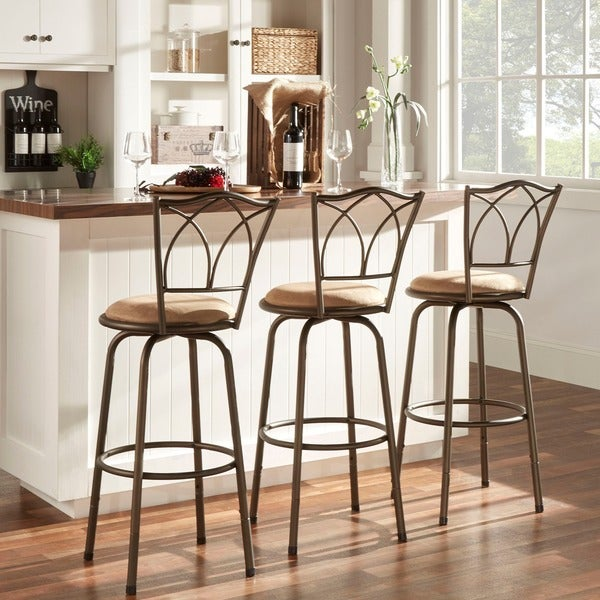 avalon double cross swivel high back counter barstool set of 3 by inspire q