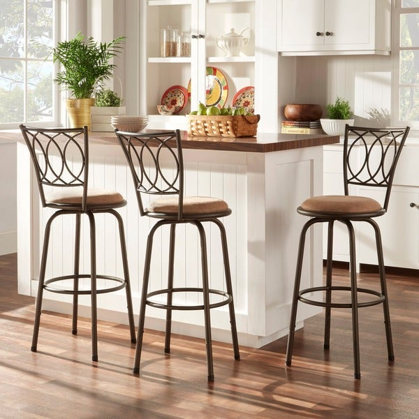 Avalon Scroll Adjustable Swivel High Back Counter Barstool by TRIBECCA HOME (Set of 3)