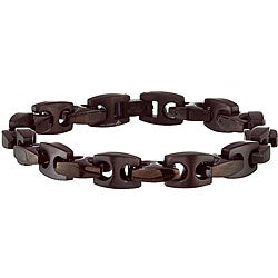 Black-Plated Stainless-Steel Men's 8.5-Inch Link Bracelet