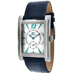 Gino Franco Men's Blue Leather Strap Watch