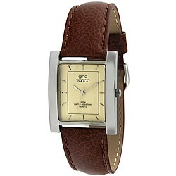 Gino Franco Men's Square Stainless Steel Case Leather Strap Watch