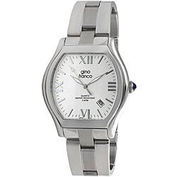 Gino Franco Men's Stainless Steel Cushion Case Watch