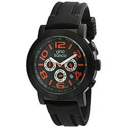 Gino Franco Men's Black and Red Multifunction Watch