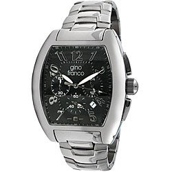 Gino Franco Men's Stainless-Steel Chronograph Watch with Barrel-Shaped Case